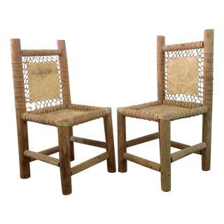Vintage Handmade Lodgepole & Rawhide Chairs - Pair
