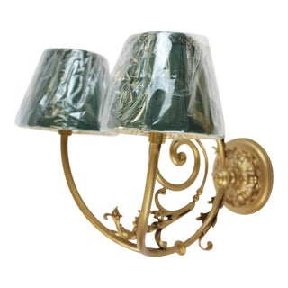 Gilt Wall With Two Socket Sconces With Green Shades