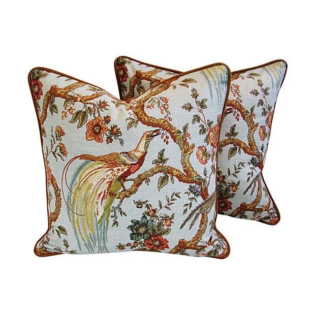 Custom Exotic Chinoiserie Fowl Pillows - Pair - Image 7 of 7