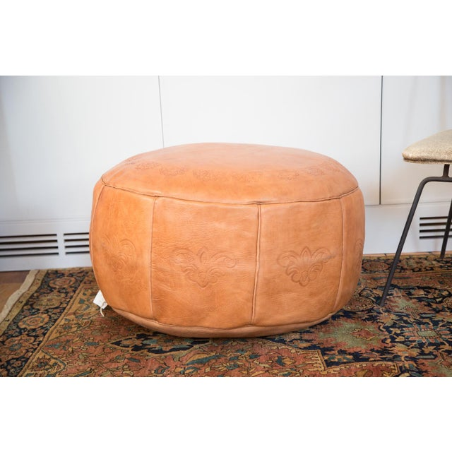 antique camel leather moroccan pouf ottoman chairish. Black Bedroom Furniture Sets. Home Design Ideas