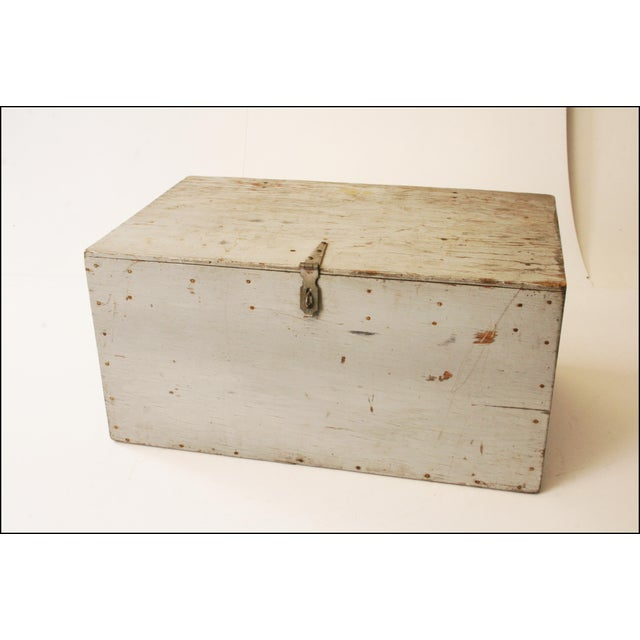 Vintage Industrial Wood Gray Military Storage Chest - Image 2 of 11