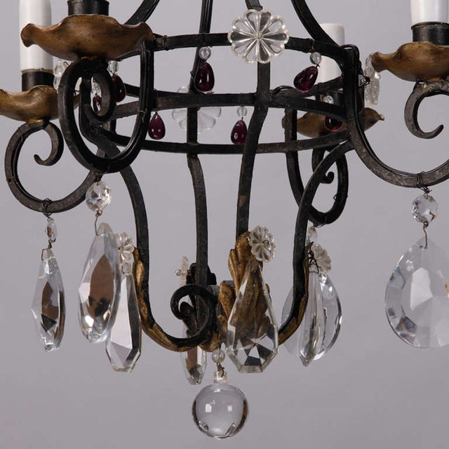 French 4-Light Black Iron & Crystal Chandelier - Image 4 of 4