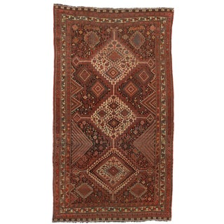 RugsinDallas Antique Hand Knotted Wool Persian Shiraz Rug - 4′9″ × 8′3″
