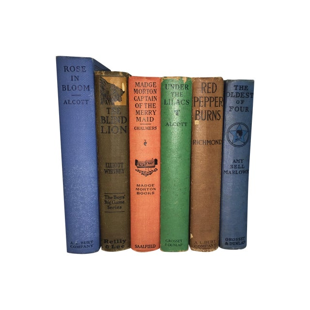 Image of Antique Distressed Children's Books - Set of 6