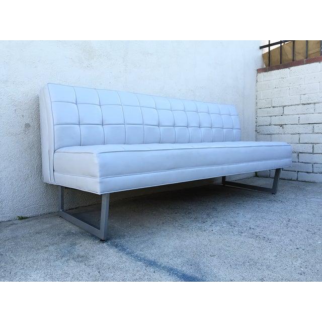 Modern Vinyl Chrome Legs Sofa - Image 8 of 10