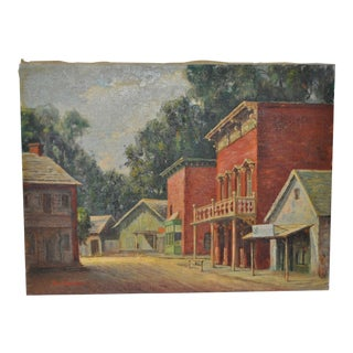 Roy Harrison Original Western Town Oil Painting c.1940