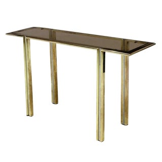 Modernist Brass and Steel Italian Console in the Manner of Willy Rizzo