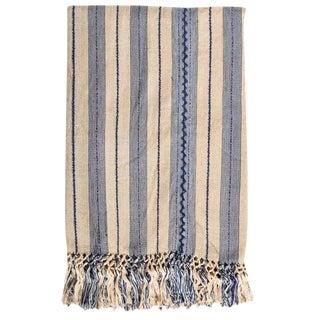 Indigo & Ecru Handwoven Blanket