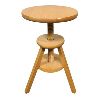 Contemporary Carved Poplar Tripod Stool or End Table