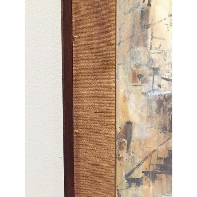 Signed Mid-Century City Scape Oil Painting - Image 10 of 11