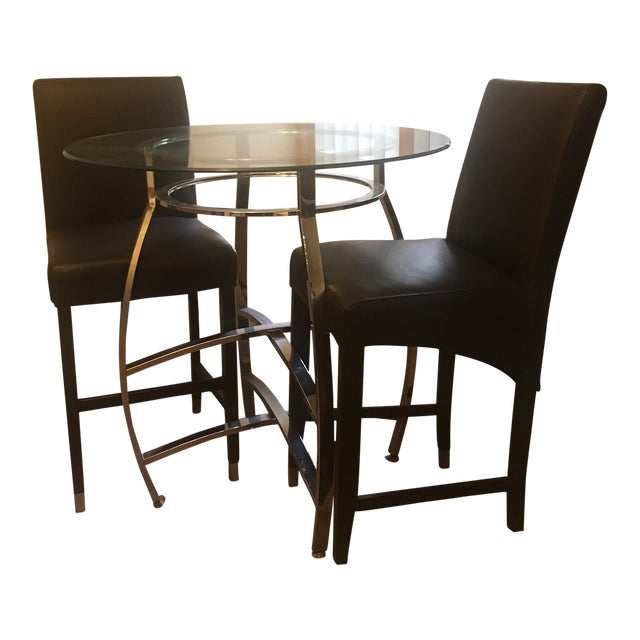 Pub style dining set with two chairs chairish for Pub style dining sets