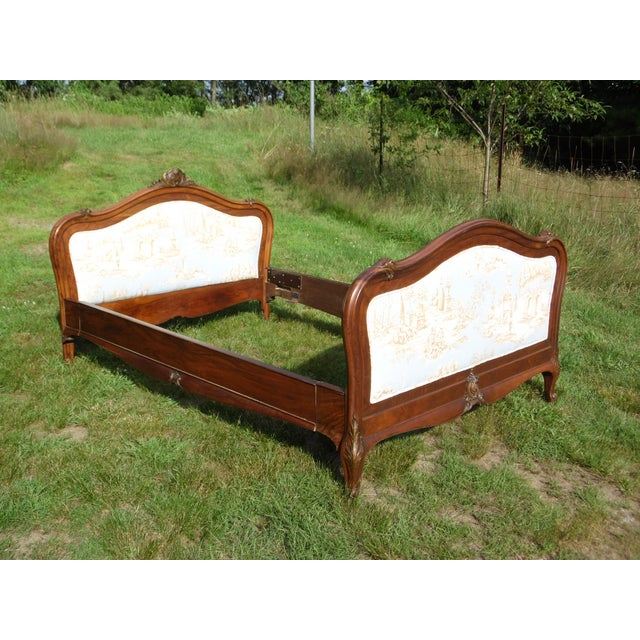 Antique French Louis XV Carved Solid Wood Toile Upholstered Full Double Bed - Image 3 of 11