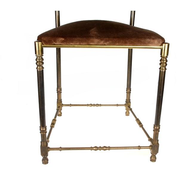 Vintage Brass & Brown Velvet Vanity Accent Chair - Image 2 of 7