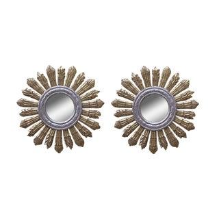 Gold & Silver Gilt Sunburst Mirrors - a Pair