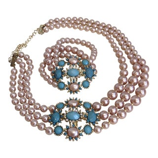 Kenneth Lane Style Beaded Necklace & Bracelet
