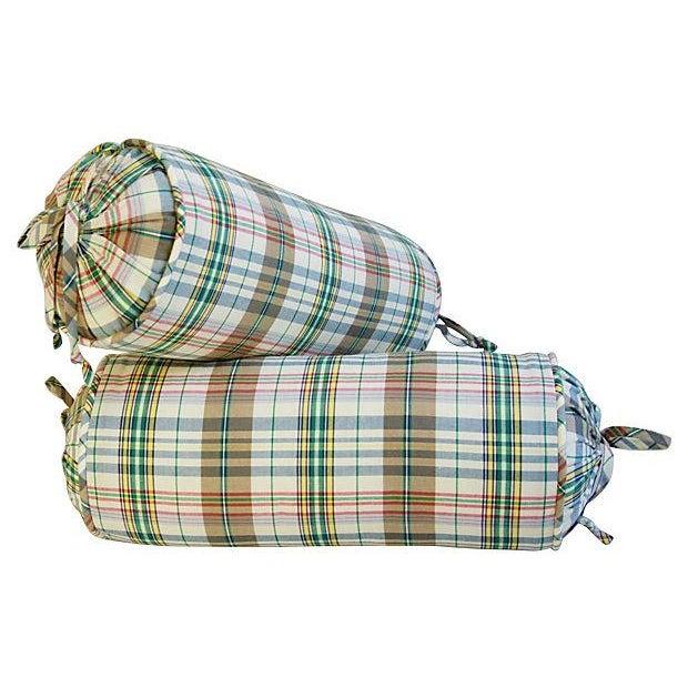 Custom Ralph Lauren Madras Bolster Pillows - Pair - Image 4 of 6