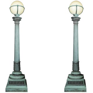 Pair of Cast Bronze Entry Lamps