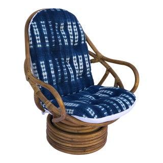 Mid-Century Bamboo Swivel Barrel Chair