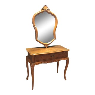 One-Drawer Wooden Vanity & Mirror With Glass Top
