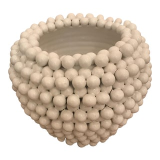 White Beaded Ceramic Vase