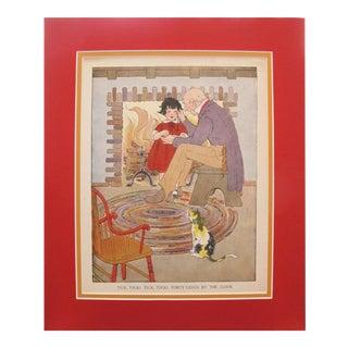 1918 British Vintage Children's Illustration, Tick Tock!