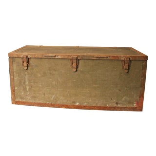 Vintage Industrial Heavy Duty Drab Green Military Trunk