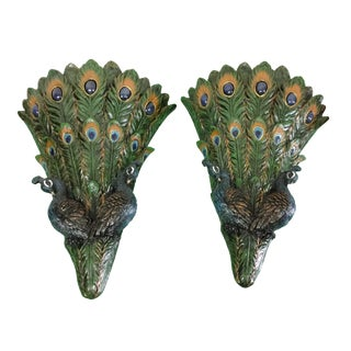 Peacock Wall Pockets - A Pair