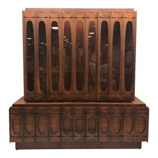 Mid-Century Modern Brutalist Cabinet / Sideboard/ Hutch