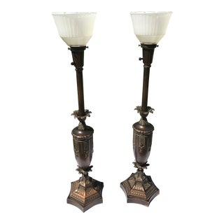 Antique Rembrandt Brass Table Lamps - A Pair
