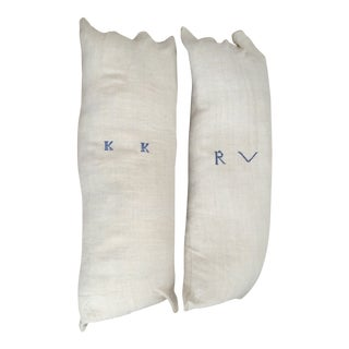 French Grain Sack Pillows Large - A Pair
