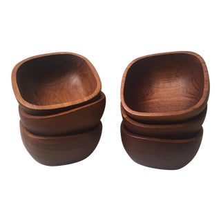 Vintage Teak Wood Bowls - Set of 6