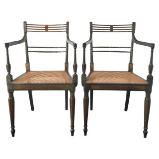 19th C. English Regency Painted Armchairs - A Pair
