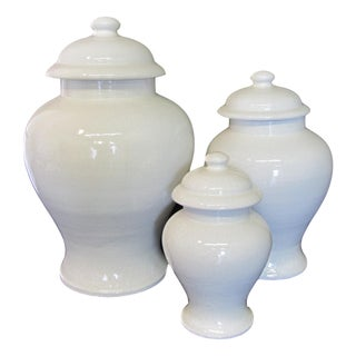 White Ceramic Crackle Glazed Urns - Set of 3