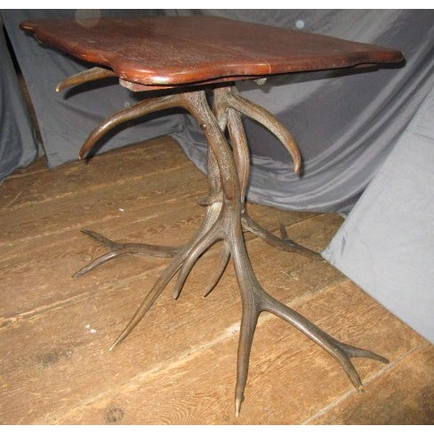 Oak Top Table With Antler Base - Image 5 of 6