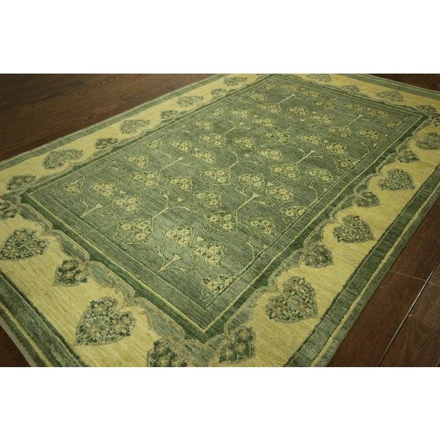 "Green Chobi Gabbeh Oriental Rug - 6'1"" x 9'3"" - Image 3 of 10"