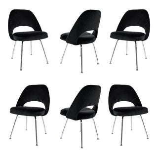 Saarinen Executive Armless Chairs in Black Velvet, Set of Six