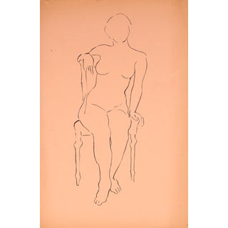 Seated Figure Line Drawing by Helen Rennie