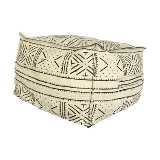 Ivory & Black Mud Cloth Pouf