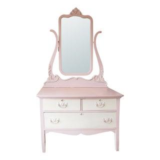 Vintage Pink Low-Boy Dresser with Mirror