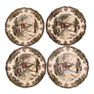 """Friendly Village"" Bread/Butter Plates - Set of 4"