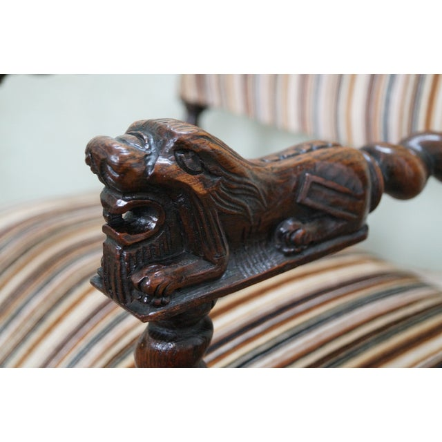 Antique Oak Lion Barley Twist Armchairs - A Pair - Image 6 of 10