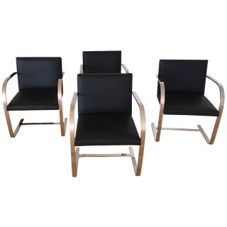 Brno Chrome & Black Leather Chairs - Set of 4
