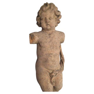 Carved Wood Statue of a Cherub