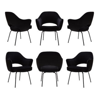 Saarinen Executive Arm Chairs, Black Edition - Set of 6