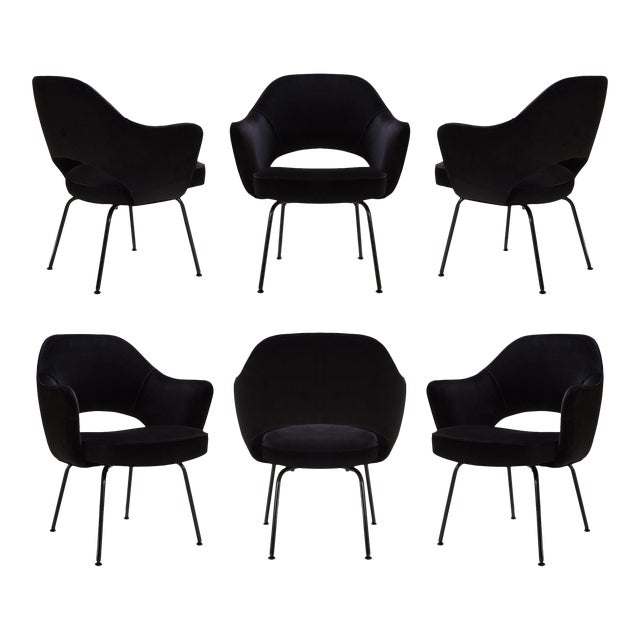 Saarinen Executive Arm Chairs, Black Edition - Set of 6 - Image 1 of 8