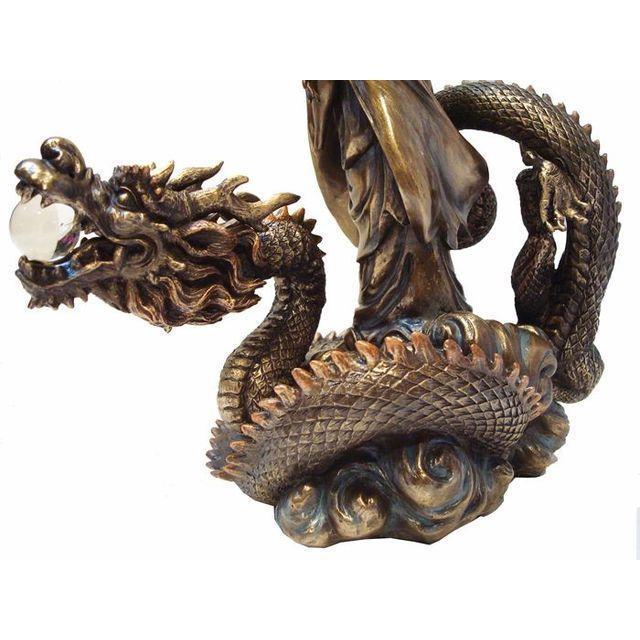 Asian Quan Yin & Dragon Statue - Image 6 of 6