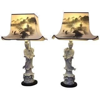 Kwan Yin Figural Blanc De Chine Lamps - A Pair