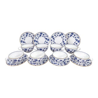 Spode Blue Colonel Tea Cups & Saucers - Set of 8