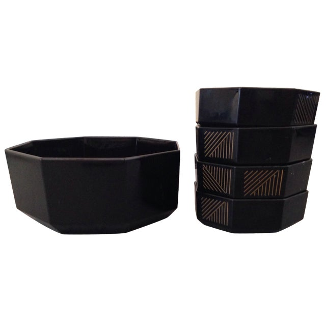 French Deco Geometric Bowls - Set of 5 - Image 1 of 5