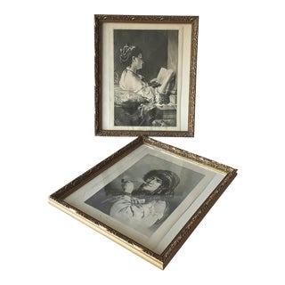 Antique Gilt Gesso Framed Prints- A Pair